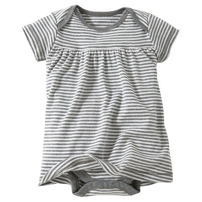 Burt's Bees Baby™ Newborn Bee Essentials Short Sleeve Striped Dress - Heather Grey 0-3M