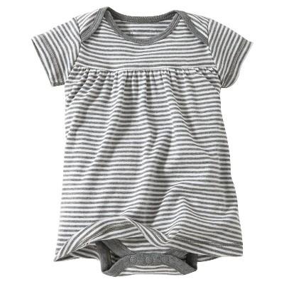 Burt's Bees Baby™ Newborn Bee Essentials Short Sleeve Striped Dress - Heather Grey 3-6M