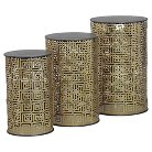 Nemesis Round Metal Nesting Tables Gold (Set of 3) - Bombay