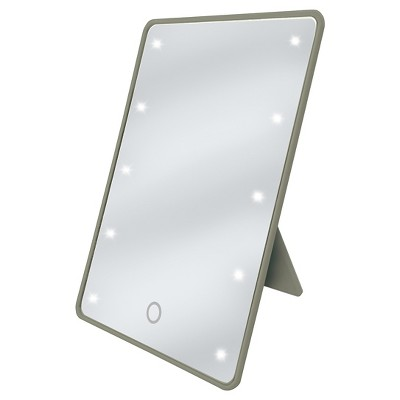 LED Touch Cosmetic Mirror with Easel Back Earth Grey Be U