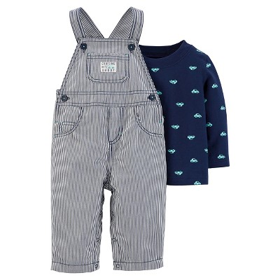 Just One You™Made by Carter's® Baby Boys' 2 Piece Stripe Overall Set - Navy - 9M