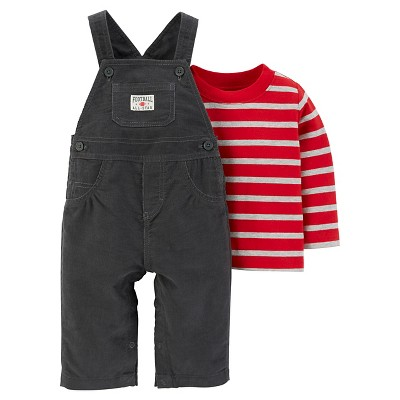 Just One You™Made by Carter's® Baby Boys' 2 Piece Overall Set - Grey/Red - NB