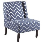 Arya Upholstered Dining Chair Wood/Blue-Silver Chevron - Bombay