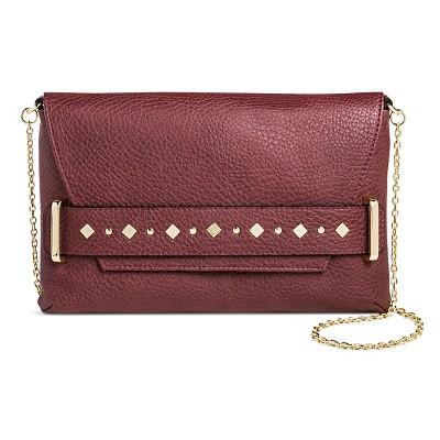 Sam & Libby Women's Faux Leather Clutch Handbag with Chain Crossbody Strap Handbag - Wine