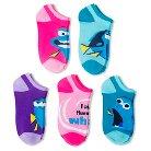 Disney Finding Dory Girls' 5-Pack No Show Socks - Multi-colored 9-2.5