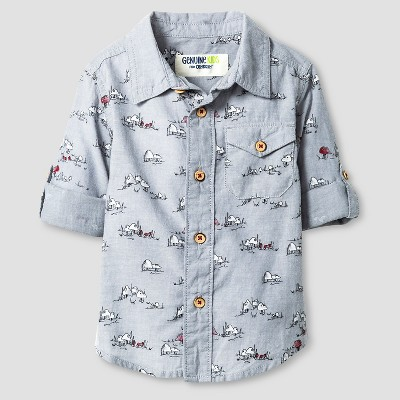 Baby Boys' Button Down Shirt - Spa Blue 12M - Genuine Kids™ from Oshkosh®