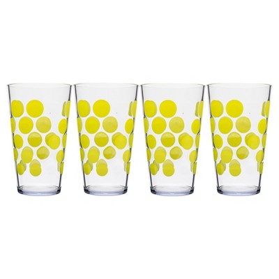Zak! 19oz Highball Tumbler Set of 4 - Kiwi Dots