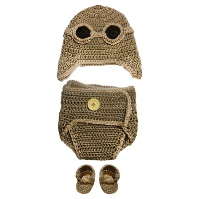 Baby Boys Aviator Crochet Diaper Cover Set Photo Prop