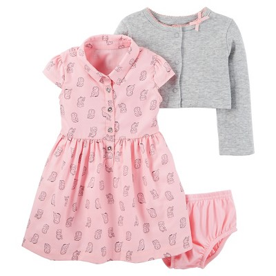 Just One You™Made by Carter's® Baby Girls' 2 Piece Dress Set - Pink Print/Heather Grey - 9M