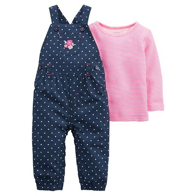 Just One You™Made by Carter's® Baby Girls' 2 Piece Polka Dot Overall Set - Chambray - 9M