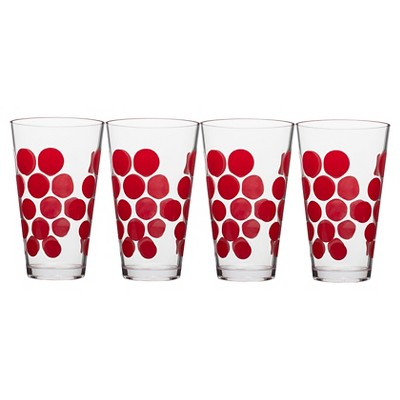 Zak! 19oz Highball Tumbler Set of 4 - Red Dots