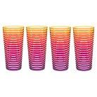 Zak! 22oz Highball Tumbler Set of 4 - Orange/Yellow Pink Stripe