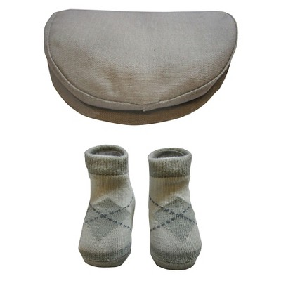 Baby Boys' So'Dorable Argyle Flat Cap Hat and Knit Booties Set Gray 0-12M