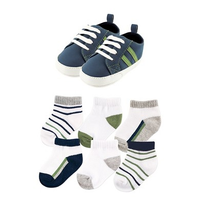 Yoga Sprout Baby 7 Piece Shoes & Socks Gift Set - Olive/Navy 0-6M