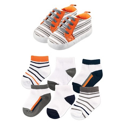 Yoga Sprout Baby 7 Piece Shoes & Socks Gift Set - Striped 6-12M