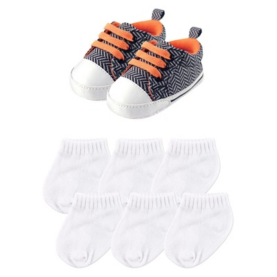 Luvable Friends Baby Boys' Canvas Shoes & Socks Gift Set - Chevron 0-6M