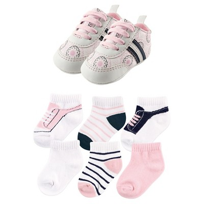 Yoga Sprout Baby Girls' 7 Piece Shoes & Socks Gift Set - Ornamental 0-6M