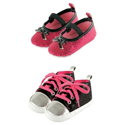 Luvable Friends Baby Girls' Sparkly Mary Jane Shoes Set - Black/Pink 12-18M