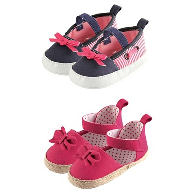 Luvable Friends Baby Girls' Flats and Espadrilles Shoes & Socks Gift Set - Red/White Blue 0-6M