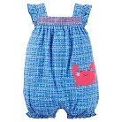 Just One You™Made by Carter's® Baby Girls' Crab Print Ruffle Romper - Light Blue NB