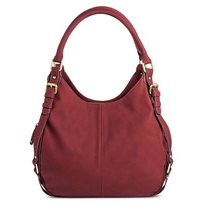 Women's Faux Leather Timeless Collection Large Hobo Handbag Crisp Berry  - Merona™
