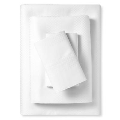 Elite Home 600tc Park Avenue Dobby Check Sheet Set - White (Queen)