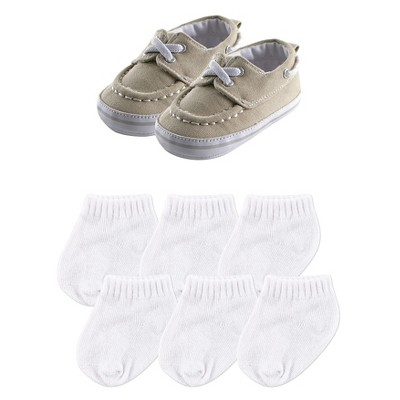 Luvable Friends Baby Boys' Slip On Shoes & Socks Gift Set - Khaki 6-12M
