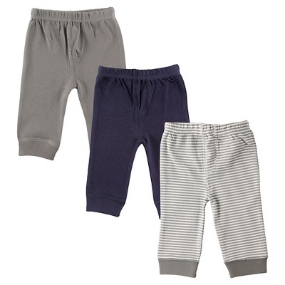 Luvable Friends Baby 3 Pack Tapered Ankle Pant - Grey/Navy 0-3M