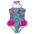 Girls' Paisley One Piece Swimsuit with Ruffles 4-6X - Jade