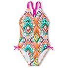 Girls' One Piece Swimsuit with Macramé Back Detail 7-16 - Pink