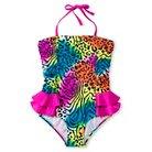 Girls' Leopard 1 Piece Swimsuit with Ruffles 4-6X - Grey