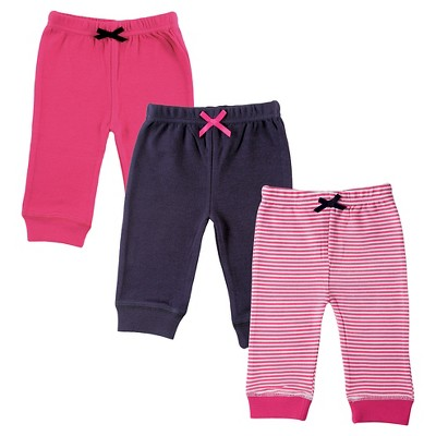 Luvable Friends Baby Girls' 3 Pack Tapered Ankle Pant - Pink/Navy 6-9M
