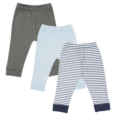 Luvable Friends Baby 3 Pack Tapered Ankle Pant - Navy Striped 6-9M