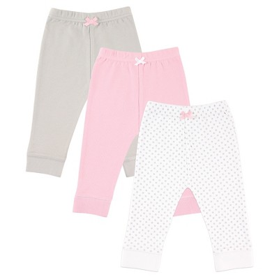 Luvable Friends Baby 3 Pack Tapered Ankle Pant - Grey Dot 0-3M