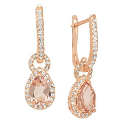 Pear-Cut Morganite Quartz Halo Latchback Earrings in Rose Gold Over Silver