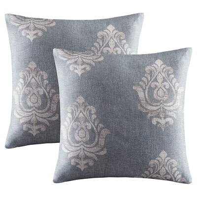 "Oakmore Texture Damask Printed Throw Pillow Pair - Charcoal (20x20"")"