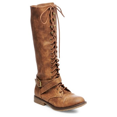 Women's Magda Lace Up with Full Zip Tall Boots - Brown 7.5