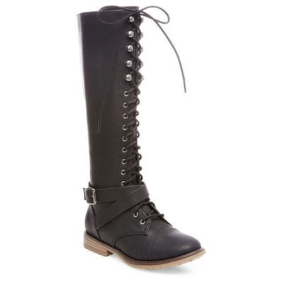 Women's Magda Lace Up with Full Zip Tall Boots - Black 6