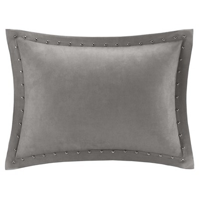 Hayes Stud Trim Microsuede Oblong Throw Pillow Grey (14x20)