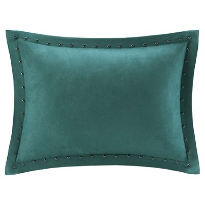 Hayes Stud Trim Microsuede Oblong Throw Pillow Teal (14x20)