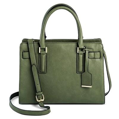 Women's Faux Leather Tote Handbag with Belted Crossbody Strap Handbag Green - Merona™