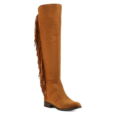 Women's Maribel Fringe Fashion Boots - Cognac 9.5