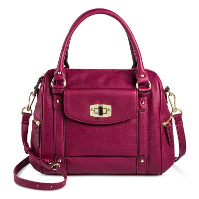 Women's Faux Leather Satchel Handbag with Removable Crossbody Strap Cherry Red- Merona™