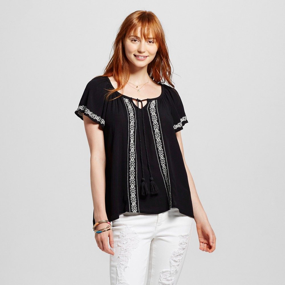 Women's Embroidered Woven Peasant Top Black M - Mossimo Supply Co. (Juniors'), Size: Medium