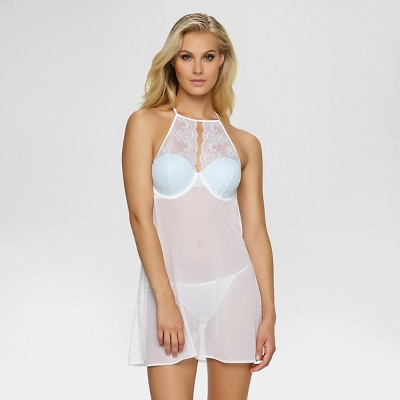 Jezebel® Women's Holly Lace Halter Chemise with G-String - White M