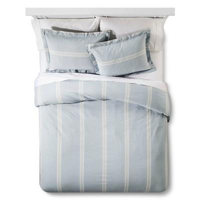 Linen Stripe Duvet and Sham Set King Blue - The Industrial Shop™