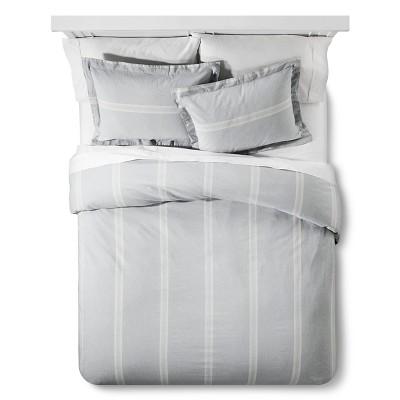 Linen Stripe Duvet and Sham Set Queen Charcoal Grey - The Industrial Shop™