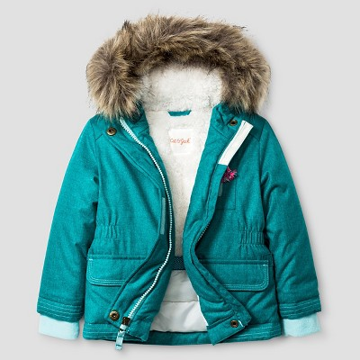 Baby Girls' Parka with Sherpa Lining Baby Cat & Jack™ - Aqua
