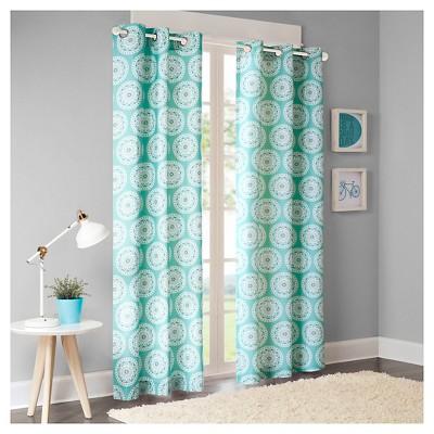 "Rieti Medallion Printed Curtain Panel Pair Blue (42x63"")"