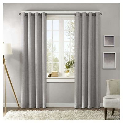 """Brent Texture Printed Curtain Panel Grey (50x95"""")"""